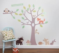 pastel forest friends wall stickers by parkins interiors | notonthehighstreet.com
