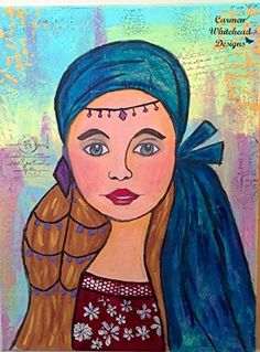 """Gypsy Muse Girl - 12"""" x 16"""" x 1"""" original mixed media gallery wrapped canvas. My Gypsy Muse Girl is mesmerizing with her green eyes, vibrant blue head scarf, and hair jewelry. This 12"""" x 16"""" x 1"""" gallery wrapped original canvas is the next piece in my """"Muses"""" collection of girl art. She is layers of script tissue paper, paper doily, acrylic paint, modeling paste, watercolor crayons, gelatos, soft pastels and graphic pencils. This makes a wonderful gift for a young girl or women that has a..."""