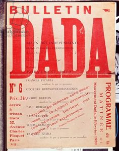 Front cover of 'Bulletin Dada No. 6', February 1920 (colour litho) Creator     French School, (20th century) Nationality     French  Description     advertising an exhibition at the 'Salon des Independants' with Francis Picabia, Georges Ribemont-Dessaignes, Andre Breton, Paul Dermee, Paul Eluard, Louis Aragon and Tristan Tzara; Location     Galleria Pictogramma, Rome, Italy Medium     colour lithograph Date     1920 (C20th) Credit     Front cover of 'Bulletin Dada No. 6', February 1920 (colo