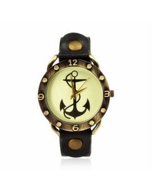 Unisex Vintage Brown Anchor Dial Watch