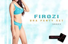 Firozi color  Embroidered Lycra net Bridal Bra panty set, comfortable & sexy. Shop online on http://www.prestitia.co.in/products/bra-panty-sets.html