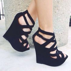 Suede Cut-Outs Wedge Heel- tidebuy.com