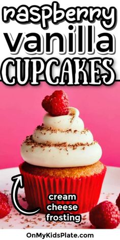 These raspberry cream cheese cupcakes are packed with fresh raspberries into a delicious vanilla cupcake. Topped with cream cheese frosting, this homemade cupcake recipe will become a new family favorite. The perfect recipe for kids to bake too! Homemade Cupcake Recipes, Quick Dessert Recipes, Fun Desserts, Easy Party Food, Fun Food, Yummy Food, Raspberry Cupcakes, Kids Plates, Birthday Party Snacks