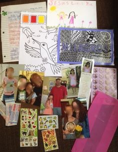 "Milagros (7) ) May 2015  *Letter theme: introducing our family; my Salvation story    * Inside cellophane party bag: family photos, copy of her own Compassion photo and bookmark, stickers, bandaids  *Also included: laminated name card that I ""zentangled,""  a picture my daughter drew for her, paint with water picture."
