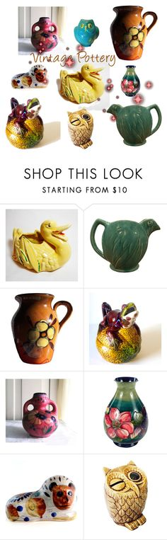 """""""Vintage Pottery"""" by plumsandhoneyvintage ❤ liked on Polyvore featuring interior, interiors, interior design, home, home decor, interior decorating, rustic and vintage"""