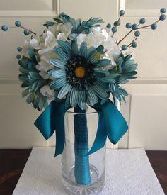 Teal Blue Wedding Bouquet Teal Wedding Gerbera by BlissfulPetals, $95.00