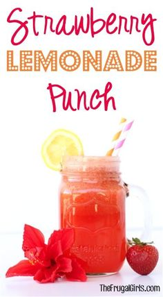 On the hunt for a delicious party punch? You'll LOVE this easy Strawberry Lemonade Punch Recipe! It is beyond delicious, and perfect for every party, baby shower, bridal shower, or wedding! Bbq Party, Party Drinks, Fun Drinks, Yummy Drinks, Beverages, Aloha Party, Luau Party, Mixed Drinks, Lemonade Punch Recipe