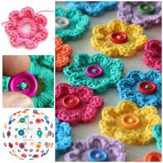 Crochet Flowers Ideas - How to DIY Crochet Button Flower Blossom Wall Art Crochet Diy, Crochet Crafts, Yarn Crafts, Crochet Projects, Sewing Crafts, Tutorial Crochet, Crochet Puff Flower, Crochet Flower Patterns, Crochet Flowers