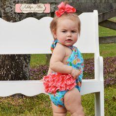Baby Girl Sunsit Baby Romper Ruffle Romper by AddysAtticOnEtsy