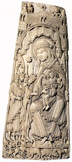 Adoration of the Magi, Spanish Master, ~1100, Carved whalebone, 37 x 16 cm, Victoria and Albert Museum, London