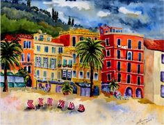 Ligurian Invitataion by watercolor artist Sherren MacLeod ~ Allessio, Italy, between France & Genoa on the Mediterranean