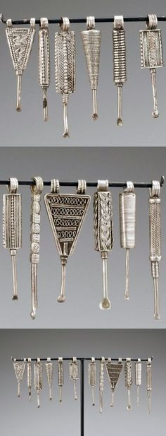 Ethiopia | Collection of 12 ear picks | Silver | 875$ ~ sold (May '13)