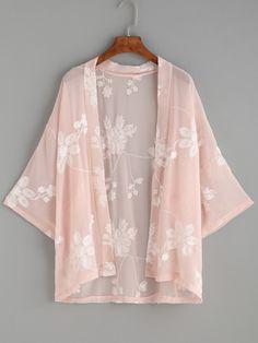 Shop Floral Print Self Tie Longline Kimono online. SheIn offers Floral Print Self Tie Longline Kimono & more to fit your fashionable needs. Chiffon Kimono, Floral Kimono, Chiffon Tops, Floral Chiffon, Kimono Fashion, Fashion Clothes, Fashion Outfits, Fashion Ideas, Tokyo Fashion