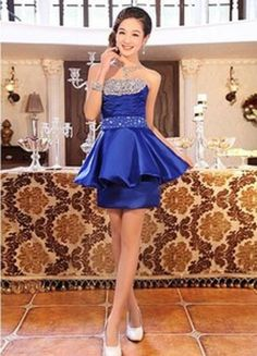 Strapless Beads Lovely Short Bridesmaid Dress Formal Dress A-Line Wedding Dresses | Buy Wholesale On Line Direct from China