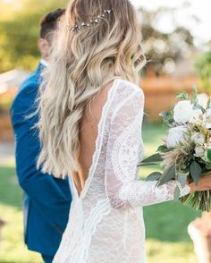 Wedding hair + @grace_loves_lace Inca Gown combo for the win.  #weddinginspo