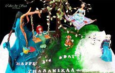 Cake for our little Princess: Pincesses Ariel, Jasmine & Elsa and friends Olaf, Flounder & Rajah - Cake by CakesbySasi