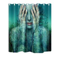 New Forest Woman Mermaid Print Shower Curtain Waterproof Mildewproof Polyester Jellyfish Bath Curtain New Forest, Mermaid, Curtains, Artwork, Jellyfish, Number, Shower, Woman, Bathroom