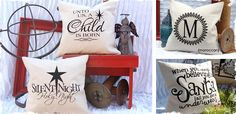 Flocked Christmas Pillow Covers - Choose From 7 Great Designs! at VeryJane.com