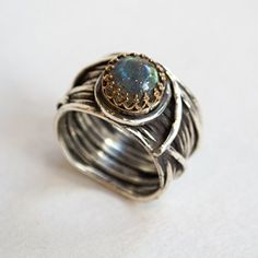 Silver gold engagement ring Labradorite wide silver band – Love Itself R2255