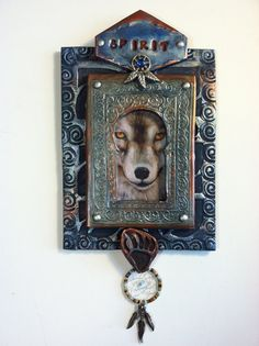 "Native American Wolf Dreamcatcher Mandala Bear Paw Print ""SPIRIT"" Metaphysical Spiritual Shrine Altar Altered Art Wall Hanging"