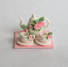 Miniature Shabby Rose Teaset OOAK by C Rohal by ArtisticSpirit, $39.50