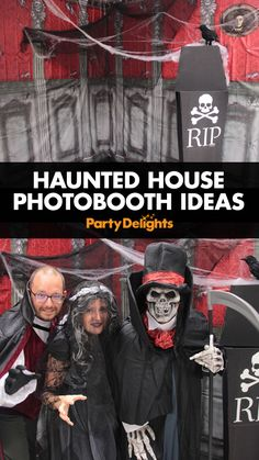 Looking for unique Halloween party ideas? Head over to the Party Delights blog to find out how to set up your very own haunted house photo booth. Easy to set up with photo booth decorations and some spooky Halloween photo booth props, your guests will love it!