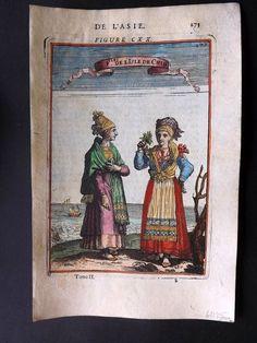 Mallet 1683 Antique HCol Print. Fles de L'Isle de Chio. Chios Costume, Greece