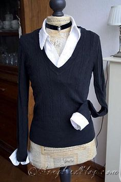 Attach a white collar and cuffs to a black sweater for a slim fitting look. www.songbirdblog.com