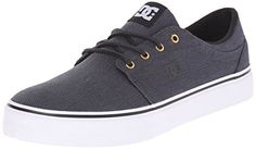 DC Trase TX SE Unisex Skate Shoe, Black/Gunmetal/White, 13 M US: 6 oz canvas upper Hd print logo Vulcanized construction