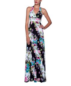 This Elfe Black & Blue Floral Halter Maxi Dress - Women by Elfe is perfect! #zulilyfinds