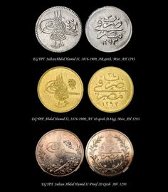 I used some of these coins to buy things. These are Egyptian coins used during the period of Sultan Abdulhamid II. Coins were used for buying and selling merchandise. Turkish Decor, Coin Worth, Gold And Silver Coins, Egypt Travel, World Coins, Ottoman Empire, Rare Coins, Coin Collecting, Islamic Art
