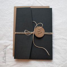 Noir & Kraft dentelle coupe faire-part de par letterelledesign