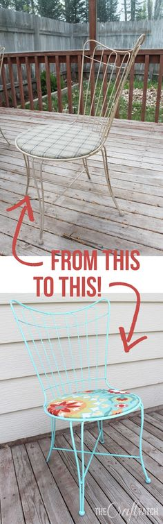 The power of spray paint always amazes me. Great before and after of a patio set.