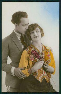 Deco Lady Love Romance Couple Flirt Fantasy original old 1920s photo postcard