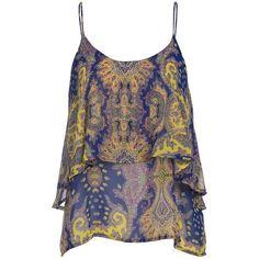 Paper Crane Women's Blue and Yellow Paisley Chiffon Sleeveless Tank... (€28) ❤ liked on Polyvore