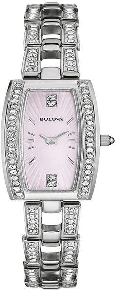 Bulova Womens Crystal-Accent Stainless Steel Tonneau Bracelet Watch 96L208