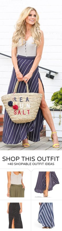 #summer #outfits  Grey Lace-up Top + Striped Split Maxi Skirt + Printed Tote Bag + Yellow Sandals