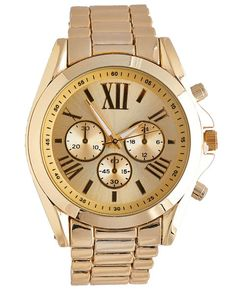 """<p>Get the look of the moment with this trendy boyfriend watch featuring classic metal links, a large face with Roman numerals and chronograph features, and a jewelry clasp closure.</p>  <ul> <li>Dial: 1.75"""" Diameter</li> <li>Band: .75"""" Width</li> <li>Metal / Man Made Materials</li> <li>Imported</li> </ul>"""