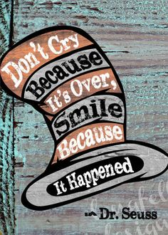 Don't Cry Because It's Over - Dr. Seuss - Abstract Wood Look Print - 5 x 7 - Kids Room Art. $10.00, via Etsy.