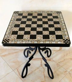 Hand forged table with mosaic top for drawing room. Mosaic Furniture, Art Furniture, Mosaic Diy, Mosaic Tiles, Chess Table, Forging Metal, Handmade Table, Table Design, Billiard Room