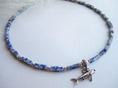 Collana+uomo+pietre+sodalite+pendente+squalo+di+BRAVE+men's+jewelry+su+DaWanda.com