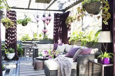 I keep coming back to the photos of this outdoor living space with these gorgeous purple accents. design by Brian Patrick Flynn