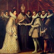 Marriage of Eleanor de' Medici and Duke Vincenzo I Gonzaga, April 1584. Eleonor (born Eleonora) de' Medici (1567-1611) was a daughter of Francesco I de' Medici and Joanna of Austria, daughter of Ferdinand I, Holy Roman Emperor, and Anna of Bohemia and Hungary. She was a family member of the famous House of Medici and the sister of Marie de' Medici the Queen of France. By marriage she was Duchess consort of Mantua.