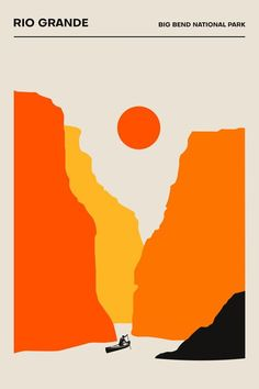 The Rio Grande, Big Bend National Park - Poster - Minimalist.- The Rio Grande, Big Bend National Park – Poster – Minimalist Print Rio Grande, Graphic Design Posters, Graphic Design Inspiration, Graphic Art, Minimalist Graphic Design, Graphic Prints, National Park Posters, National Parks, Parc National