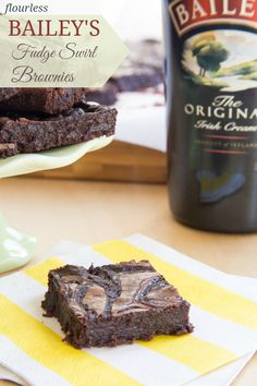 Flourless Bailey's Fudge Swirl Brownies - rich, fudgy brownies with a ripple of Irish Cream chocolate fudge make these utterly decadent and irresistable!