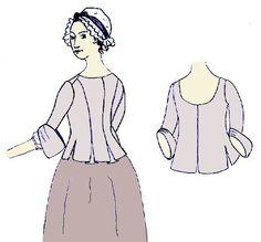 Jacke mit gerader geschlossener Front, rückwärtigen Falten und Flügelmanschetten. Jacken wie diese waren im 18. Jahrhundert bei Damen aller Gesellschaftsschichten beliebt, boten sie doch wesentlich…
