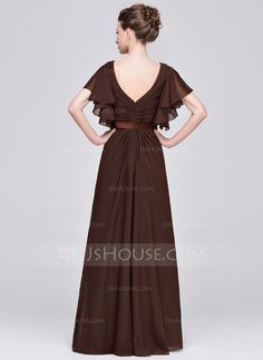 A-Line/Princess Sweetheart Floor-Length Ruffle Beading Sequins Zipper Up Sleeves Short Sleeves No 2015 Chocolate Spring Summer Fall Winter General Plus Chiffon Mother of the Bride Dress