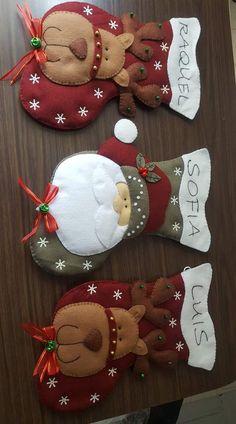 me ~ Navidad Baby Christmas Stocking, Red Christmas Ornaments, Felt Christmas Stockings, Christmas Clay, Felt Ornaments, Christmas Projects, Christmas 2019, Christmas Wreaths, Merry Christmas