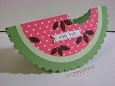 Wassermelonen Karte mit einem Wellenkreis gemacht, Itty Bitty Banners, vielleicht als Einladung für einen Mädelsabend