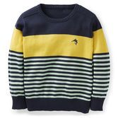 A great layering piece, this striped crew neck sweater looks so cute for Easter or any other spring celebration. Carter's toddler boy style.
